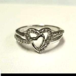 925 Women's Double Heart Ring
